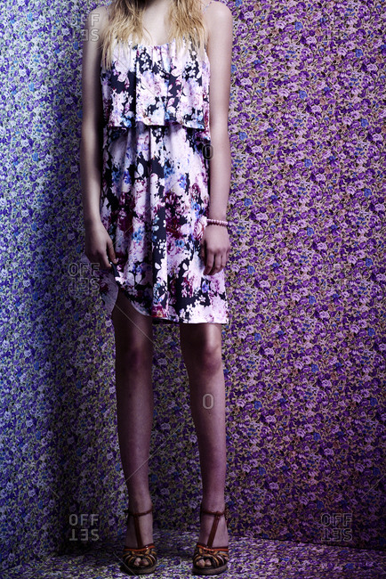 Fashion model wearing a floral dress