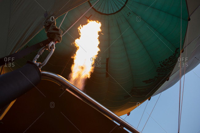 Close-up of an open flame inflating a hot air balloon