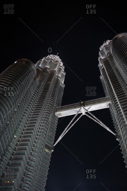 Kuala Lumpur, Malaysia - February 15, 2015: Twin towers in Kuala Lumpur at night