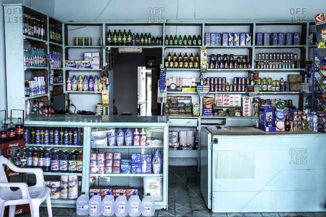 Barra De Navidad, Mexico - February 2, 2016: Inside of Mexican convenience store