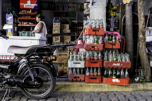 Barra De Navidad, Mexico - February 2, 2016: Outside of Mexican convenience store