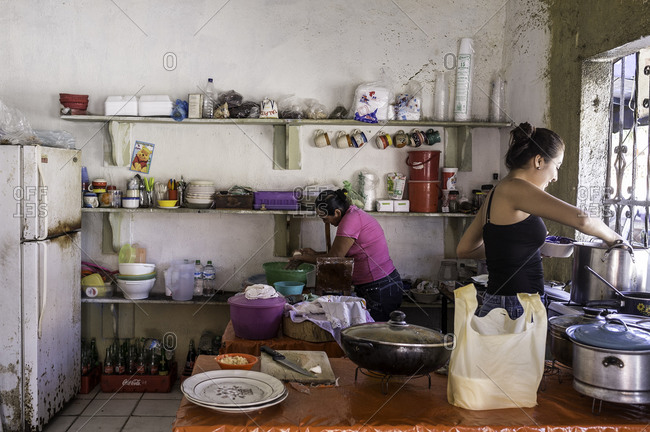 Barra De Navidad, Mexico - February 3, 2016: Women cooking in restaurant in Mexico