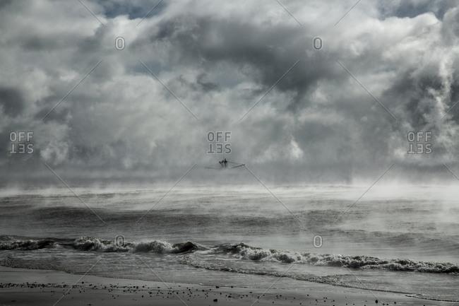 Ship in fog on sea