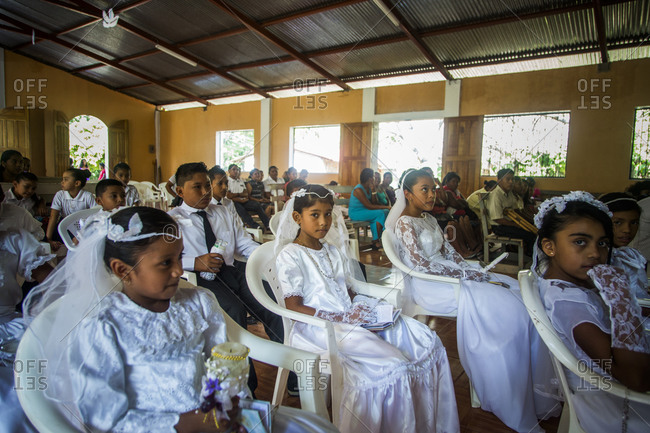 Nicaragua - December 9, 2015: Children waiting to receive First Communion