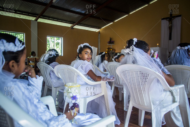 Nicaragua - December 9, 2015: Children about to receive their First Communion