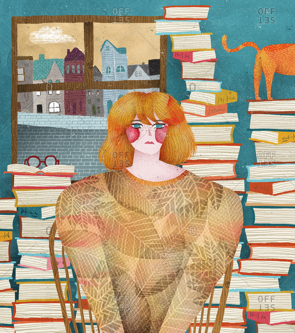 Woman with red cheeks by books