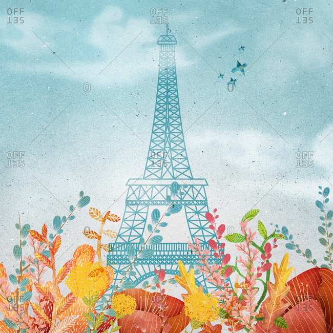 Eiffel Tower behind plants