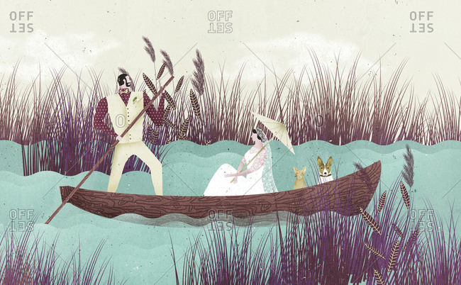 Man rowing boat with woman