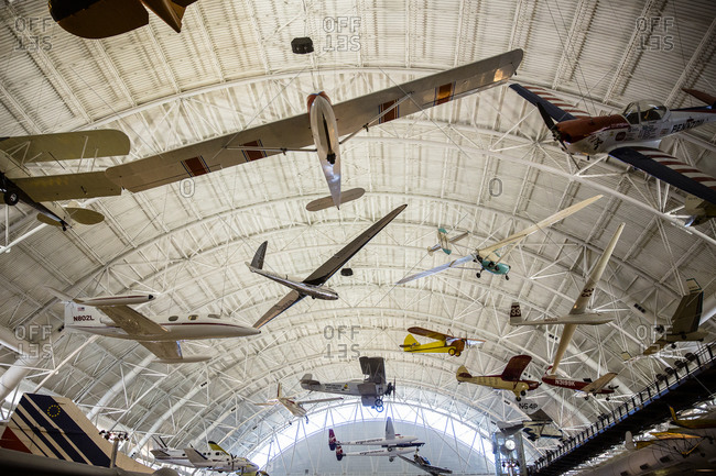 Air and Space Museum, Chantilly, VA - August 16, 2015: Interior view of the Steven F. Udvar-Hazy Center