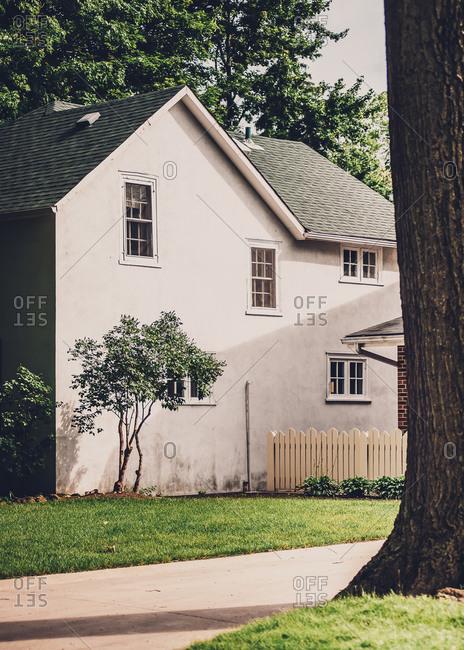 Quaint farmhouse with a picket fence