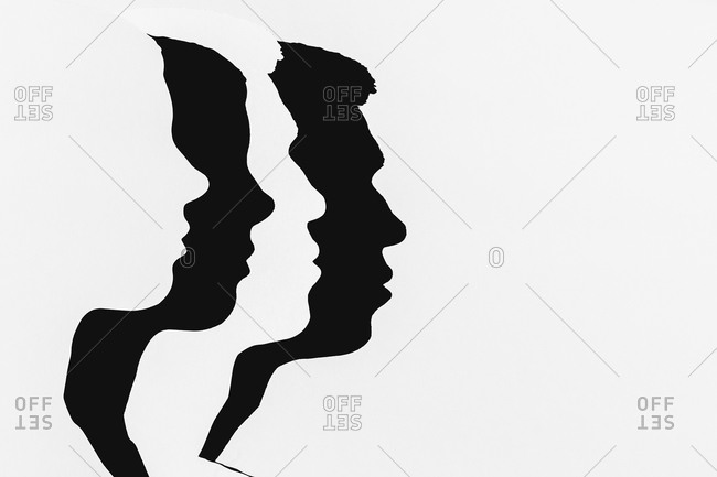 Man and woman profile silhouettes