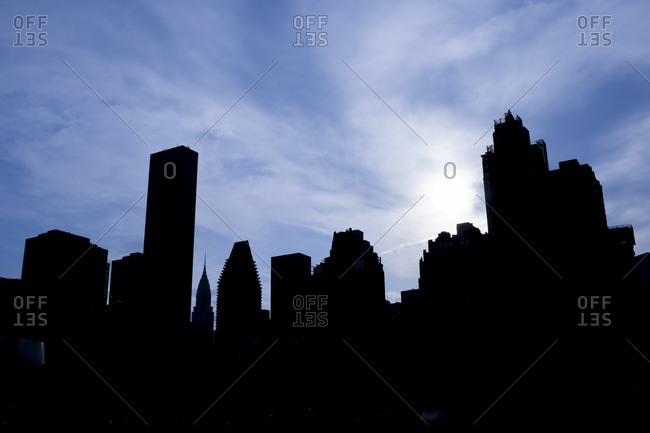 Silhouette of buildings on the Manhattan skyline