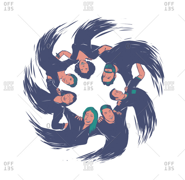 Group of people arm in arm rotating in a circle