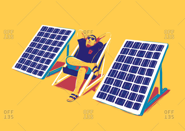 Man sunbathing outdoors between two portable solar panels