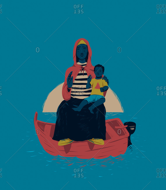 Woman and child at sea in a boat