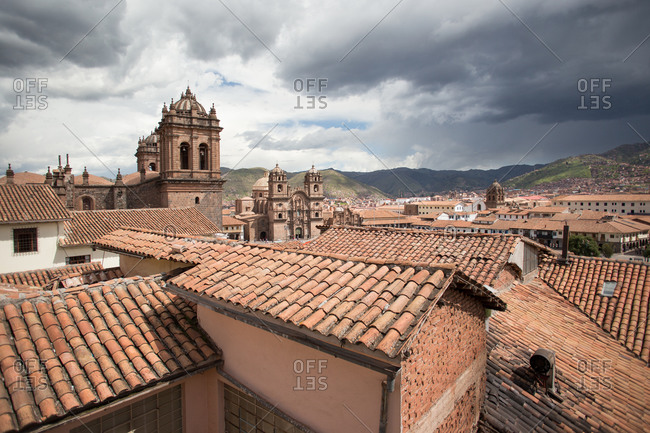 Overview of Plaza de Armas and the red tiled rooftops of Cusco, Peru