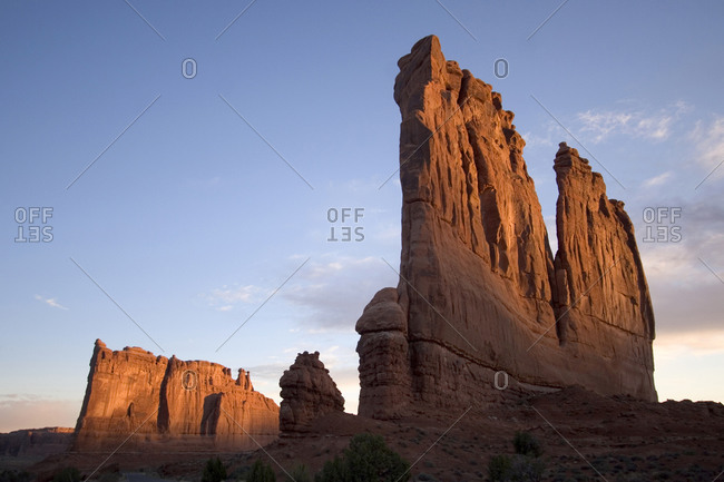 Rock formations called Courthouse Towers in early morning in Arches National Park, Utah