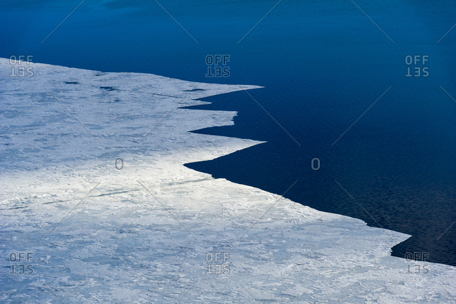 The melting edge of sea ice where it meets the open ocean during the Antarctic summer