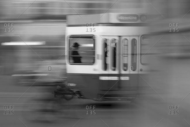 Blurred motion of a city tram