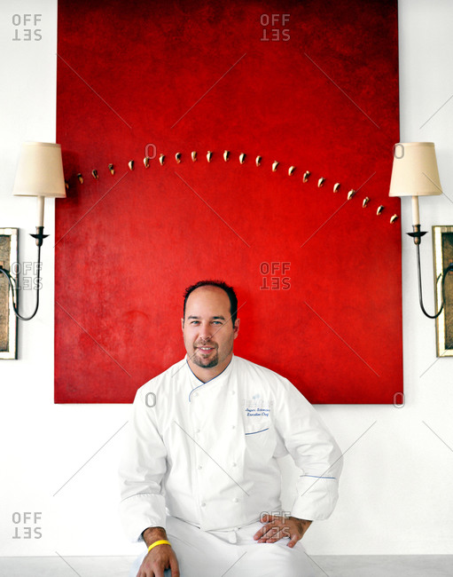 Turks and Caicos islands, The Caribbean - February 5, 2016: Celebrity chef Jasper Schneider at his renowned Caribbean restaurant Parallel 23