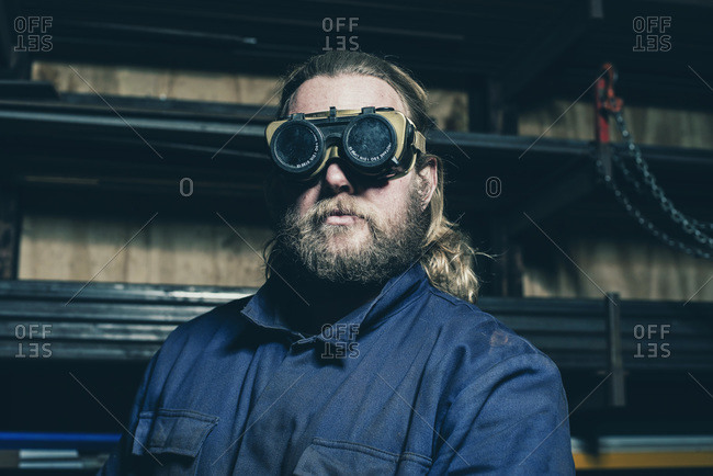 Portrait of welder with safety glasses