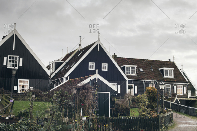 Old Dutch houses in the village of Marken, Noord-Holland, The Netherlands