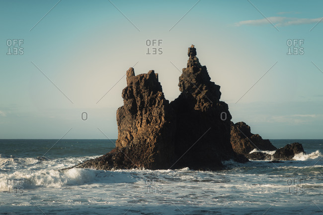 Rocky outcropping along the coast of Tenerife, Spain