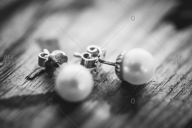 Close up of pearl earrings