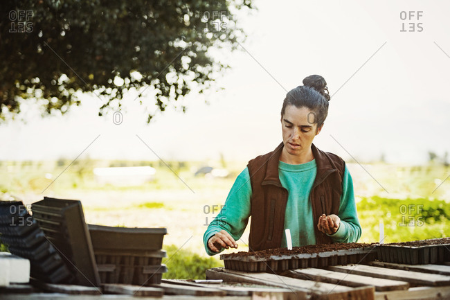 Woman planting seeds in a seed tray
