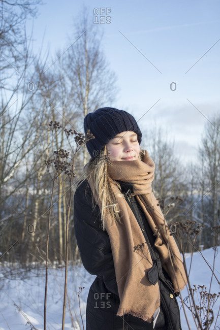Teenage girl outdoor in winter