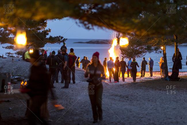 People socializing on beach
