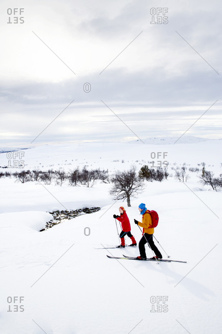 People skiing on cloudy day