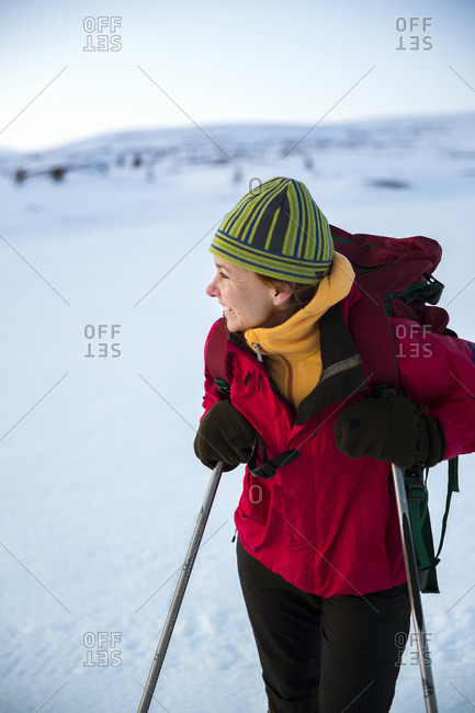 Female skier looking away