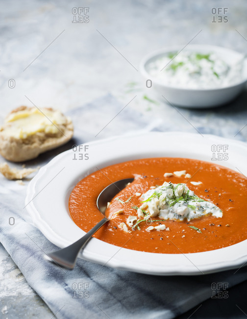 Bowl of soup with spoon