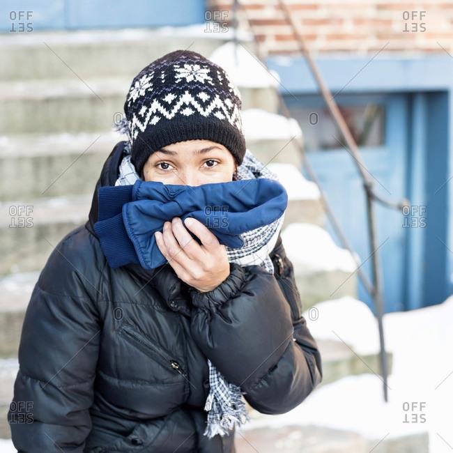 Portrait of woman wearing warm clothing