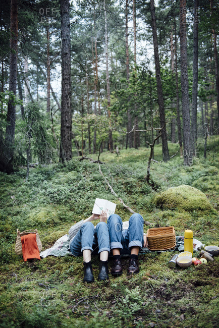 Women on picnic in the forest