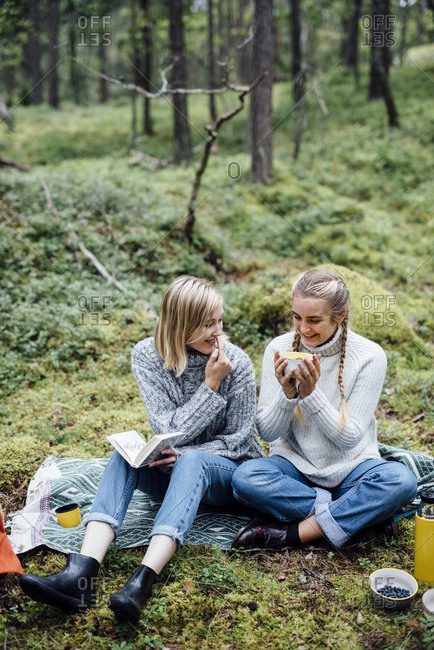Two women at a picnic