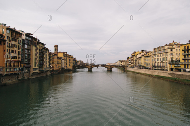 A view of the Ponte Vecchio along the Arno River in Florence, Italy