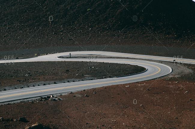 A winding mountain road in Hawaii