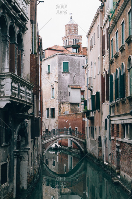 Footbridge over a canal in Venice, Italy