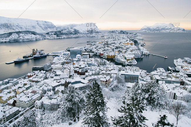 A view of snow-covered Alesund, Norway from Aksla Hill