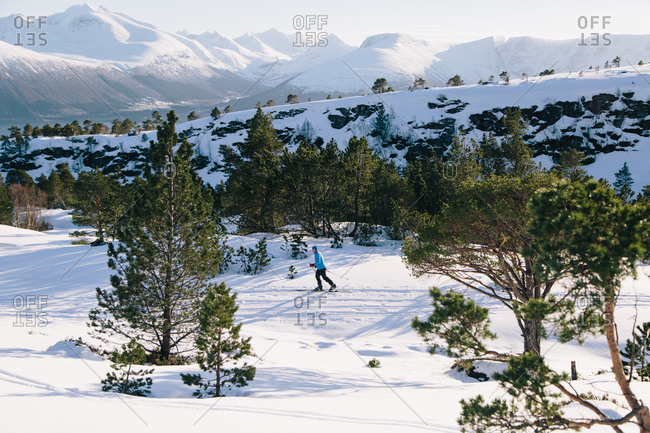 Person cross-country skiing in Norway