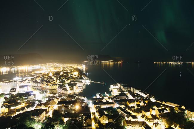 A view of Alesund Harbor in Alesund, Norway