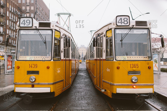 Parked tram cars in Budapest, Hungary