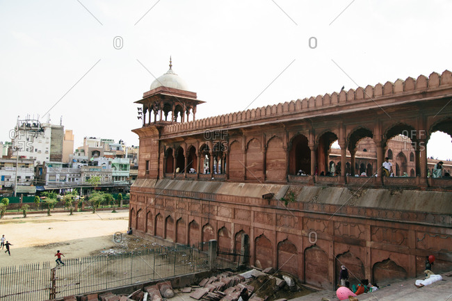 Children playing outside near the Jama Masjid Mosque in Old Delhi, India