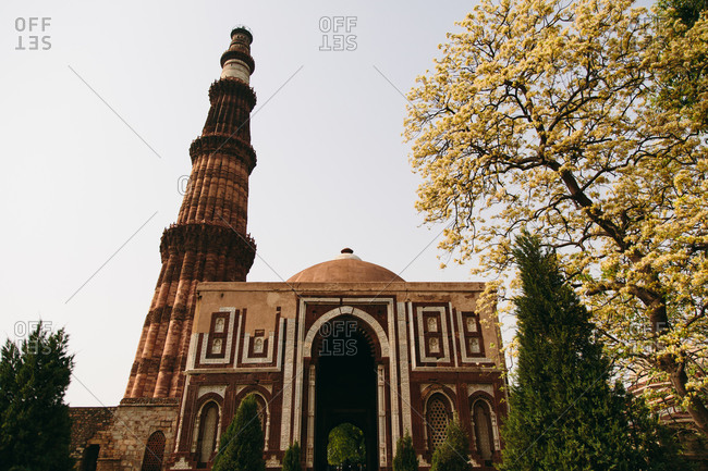 A view of Victory Tower and minaret in Qutb Minar, New Delhi, India