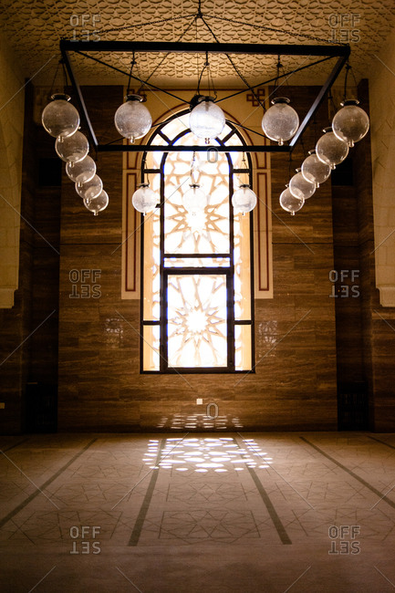 Bahrain - March 8, 2010: Lamps inside the Al Fateh Grand Mosque in Bahrain