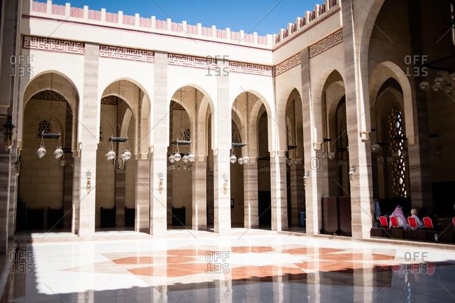 Bahrain - March 8, 2010: Courtyard at the Al Fateh Grand Mosque in Bahrain