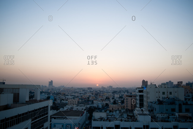 Sunset over the Manama skyline in Bahrain