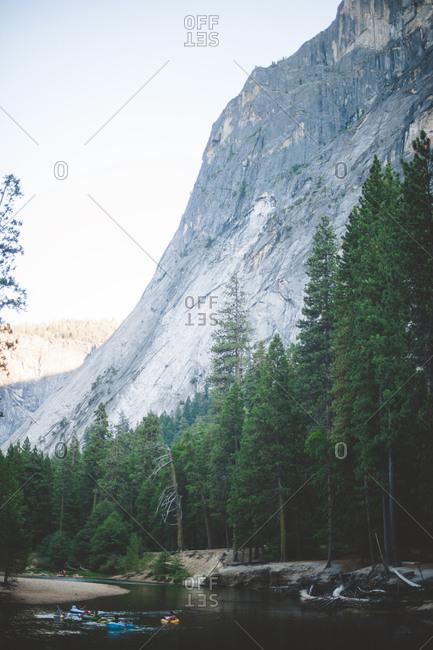 People tubing on Tenaya Creek near Half Dome in Yosemite National Park, California
